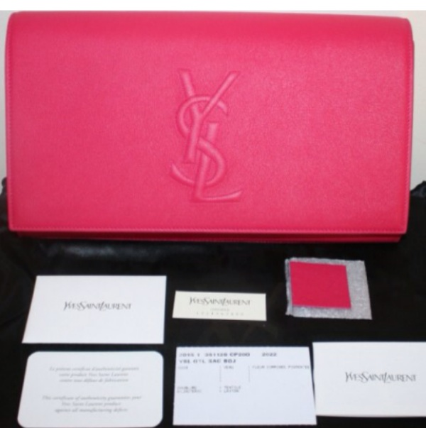 NWT YSL YVES SAINT LAURENT PARIS BELLE DU JOUR FUSCHIA LEATHER ...